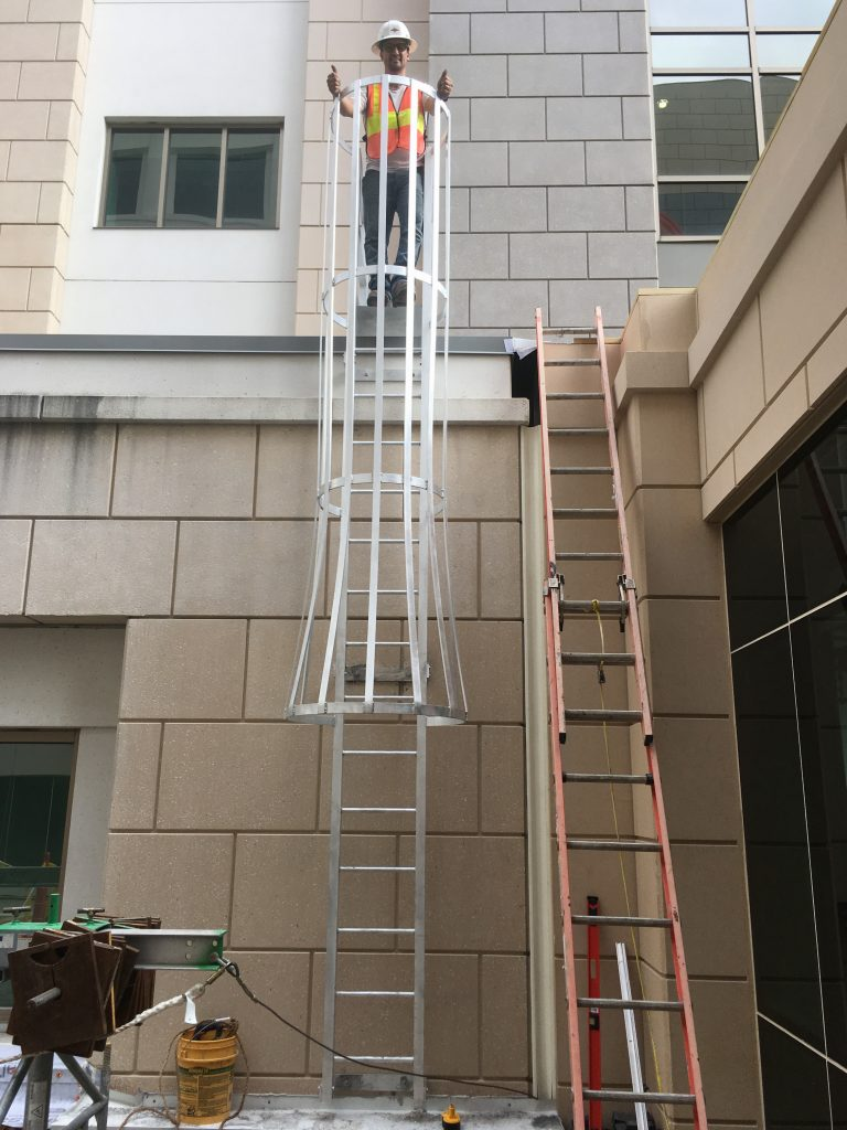 Custom Fixed Ladder with Safety Cage
